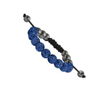 10mm Royal Blue Crystal and Round Hematite Shamballa Bracelet
