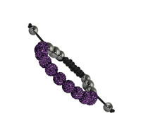 10mm Dark Purple Crystal and Round Hematite Shamballa Bracelet