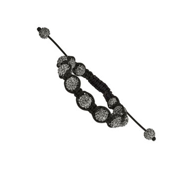 10mm Grey Crystal Shamballa Bracelet