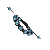 10mm Light Blue Crystal Shamballa Bracelet