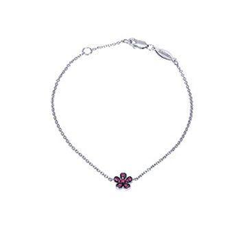 14k White  Gold Ruby Flower Bracelet