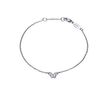 14k White Gold Diamond Butterfly Bracelet