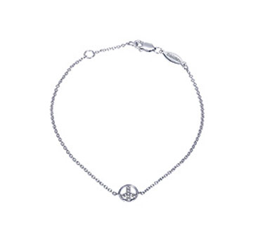 14k White Gold Diamond Peace Sign Bracelet
