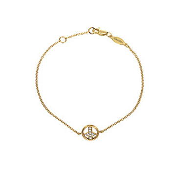 14k Yellow Gold Diamond Peace Sign Bracelet