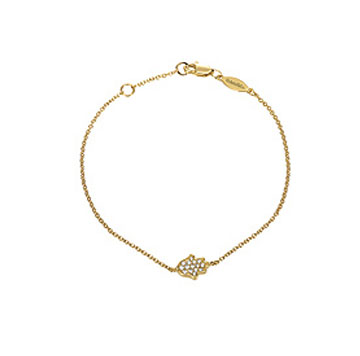 14k Yellow Gold Diamond Chamsa (Hand) Bracelet