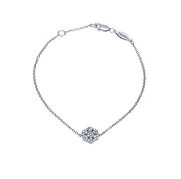 14k White Gold Diamond Snowflake Bracelet