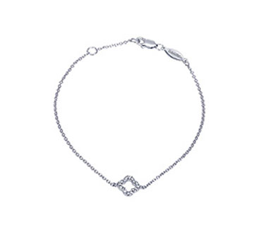 14k White Gold Diamond Open Clover Bracelet
