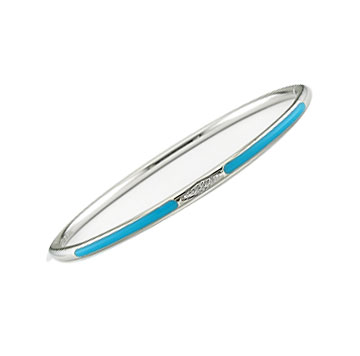 Diamond Teal Enamel Stainless Steel Bangle Bracelet