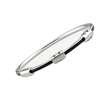 Diamond Black Enamel Stainless Steel Bangle Bracelet