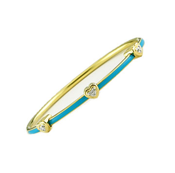 Diamond Blue Enamel Yellow Stainless Steel Bangle Bracelet