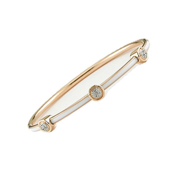 Diamond White Enamel Rose Stainless Steel Bangle Bracelet