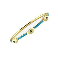 Black Diamond Blue Enamel Yellow Stainless Steel Bangle Bracelet