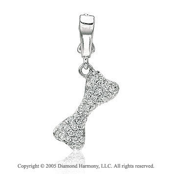 14K W Gold 1/4 Carat Diamond 2D Dog Bone Bracelet Charm