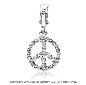 14K W Gold 1/8Ct Diamond 2D Peace Sign Bracelet Charm
