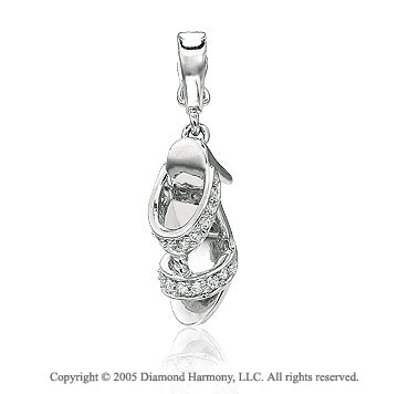 14K White Gold Diamond 3D High Heel Shoe Bracelet Charm