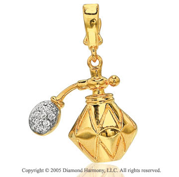 14K Y Gold Diamond 3D Perfume Bottle Bracelet Charm
