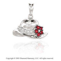 14K W Gold Diamond Ruby 3D Flowered Hat Bracelet Charm
