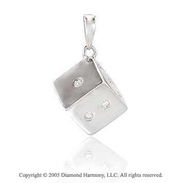 14K White Gold Fun Bezel Diamond 3D Die Bracelet Charm
