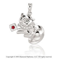 14K White Gold Diamond Ruby 3D Kitty-Cat Bracelet Charm