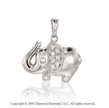 14K W Gold 0.10Ct Diamond 2D Elephant Bracelet Charm