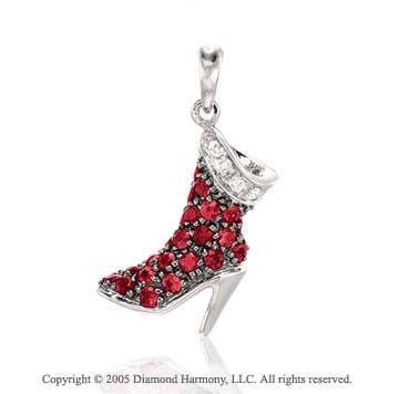 14K White Gold Diamond Ruby 3D High-Boot Bracelet Charm