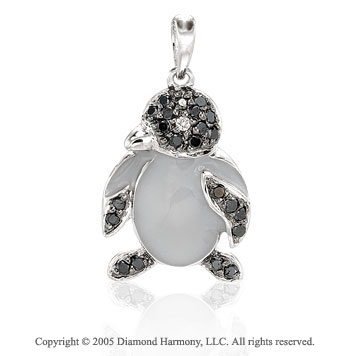 14K White Gold Black Diamond 2D Penguin Bracelet Charm