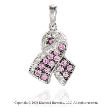 Diamond Sapphire Breast Cancer Ribbon Bracelet Charm