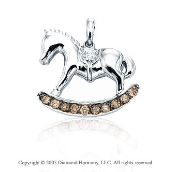 14K White Gold Diamond 3D Rocking Horse Bracelet Charm