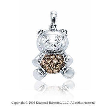 14K White Gold Two Diamond 3D Teddy Bear Bracelet Charm