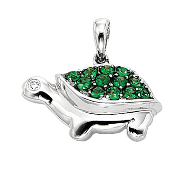 14K W Gold Diamond Green Garnet Turtle Bracelet Charm