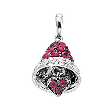 14k White Gold Diamond Ruby Moveable Heart Bell Bracelet Charm