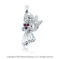14K White Gold Diamond Ruby 3D Angel Bracelet Charm