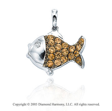 14K White Gold Diamond Citrine 2D Fish Bracelet Charm