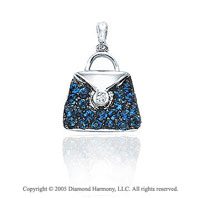 14K White Gold Diamond Sapphire 2D Purse Bracelet Charm