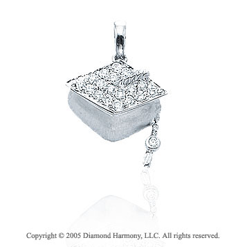 14K White Gold Diamond 3D Graduation Cap Bracelet Charm