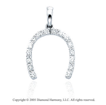 14K W Gold 1/4Ct Diamond 3D Horseshoe Bracelet Charm