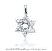 14K White Gold Diamond 2D Star Of David Bracelet Charm