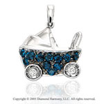 14K W Gold Diamond Sapphire 2D Baby Pram Bracelet Charm