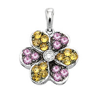 14k White Gold Diamond and Multi-Color Sapphire Flower Bracelet Charm Pendant