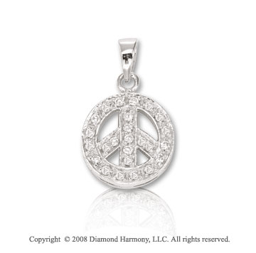 14k White Gold 1/3ct Diamond 3D Peace Sign Bracelet Charm