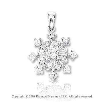 14k White Gold 0.40ct Diamond 2D Snowflake Bracelet Charm