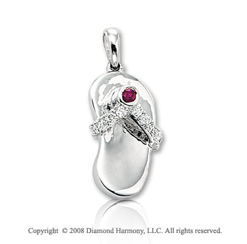 14k White Gold Diamond Ruby 3D Flip Flop Bracelet Charm