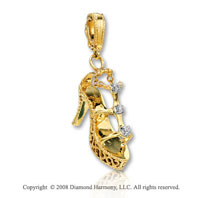 14k Yellow Gold Diamond 3D Trendy Shoe Bracelet Charm