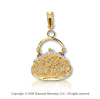 14k Yellow Gold Diamond 3D Purse Bracelet Charm