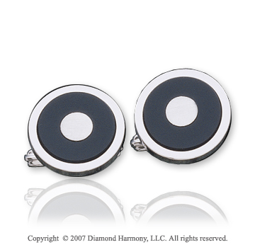 Round Classic Fashion Onyx Sterling Silver Cufflinks
