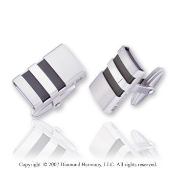 Dashing Fashion Black Rubber Stainless Steel Cufflinks