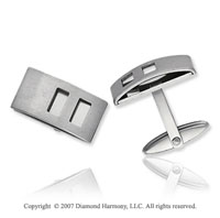 Sleek Style Swivel Back Stainless Steel Cufflinks