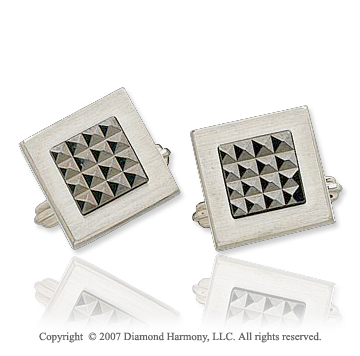 Modern Style Black Silver Stainless Steel Cufflinks