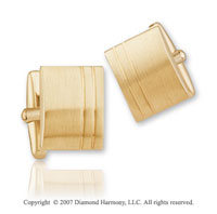 Carved Line Classic Fashion 14k Yellow Gold Cufflinks