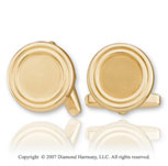 Round Carved Classic Fashion 14k Yellow Gold Cufflinks